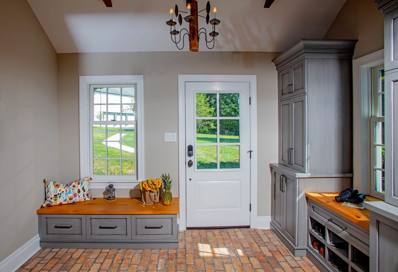 """Light & Bright Mudroom- Doylestown Farmhouse Addition"