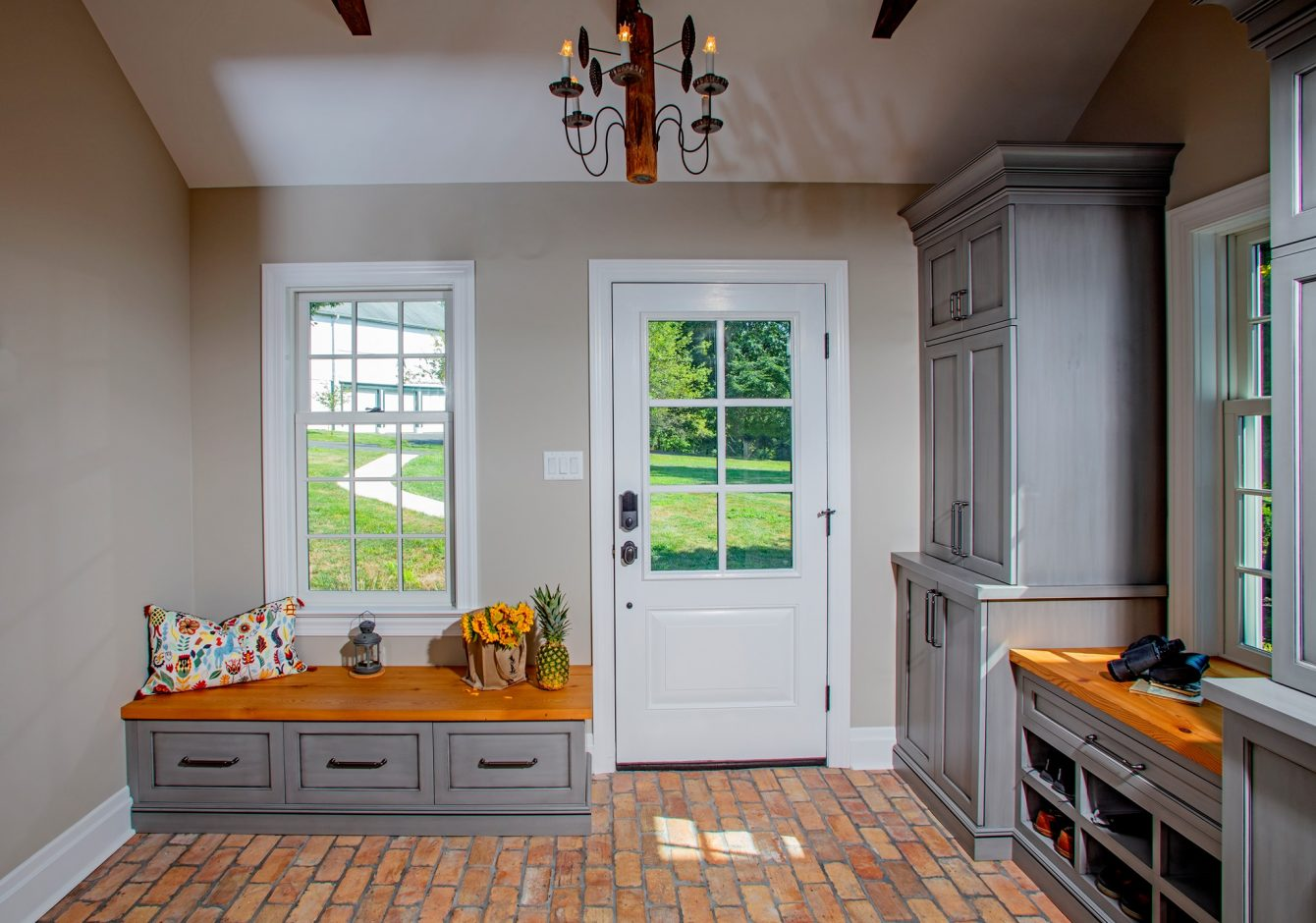 """Light & Bright Mudroom- Doylestown Farmhouse Addition"